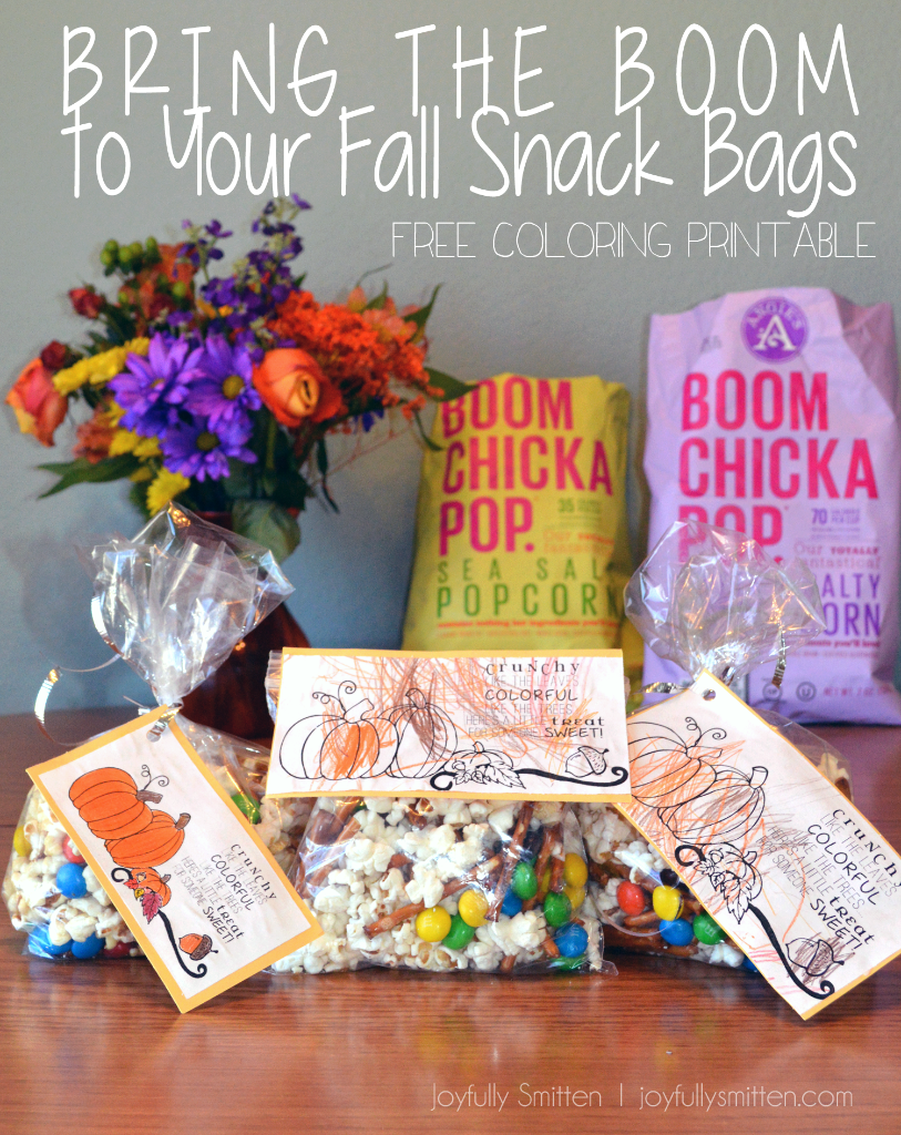 Bring the BOOM to Fall Snack Bags (free coloring printable)